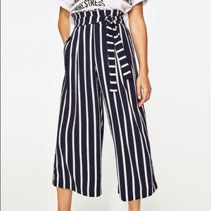 Zara Dark Navy Striped Wide Leg Pants